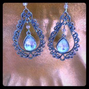 Silver Costume Earrings Tear Drop